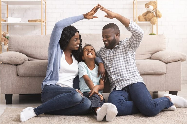 happy African American foster family